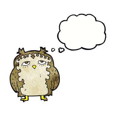 wise old owl: cartoon wise old owl with thought bubble Illustration