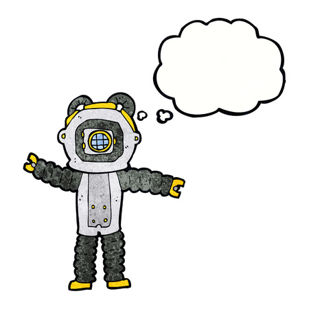 deep thought: cartoon deep sea diver with thought bubble