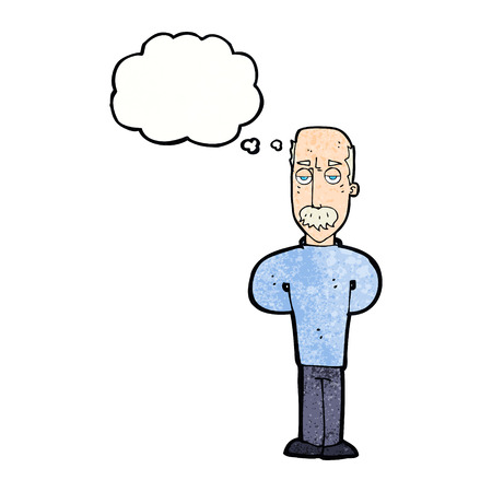 balding: cartoon annoyed balding man with thought bubble