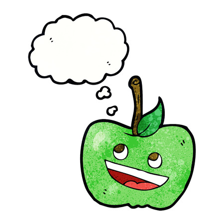 thought bubble: cartoon apple with thought bubble