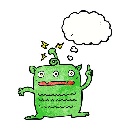 weird: cartoon weird little alien with thought bubble Illustration
