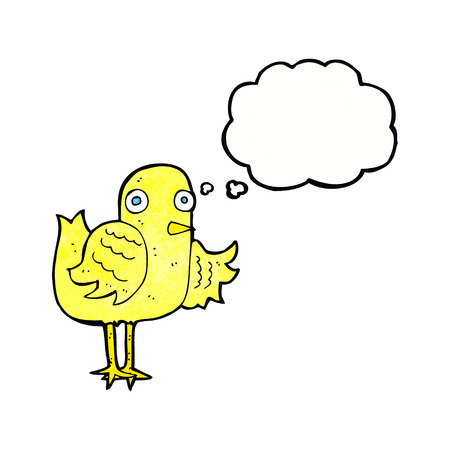 cartoon bird waving wing with thought bubble Illustration
