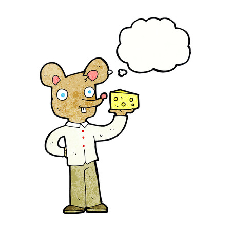 cartoon mouse holding cheese with thought bubble