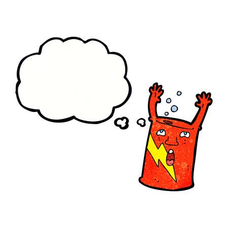 lata de refresco: refresco dibujos animados lata con burbuja de pensamiento