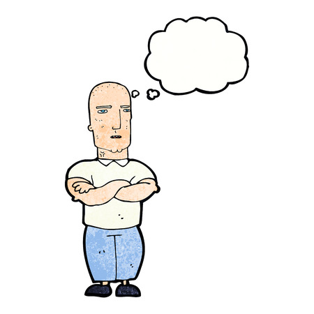 bald: cartoon annoyed bald man with thought bubble Illustration