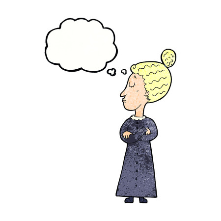 strict: cartoon strict victorian teacher with thought bubble
