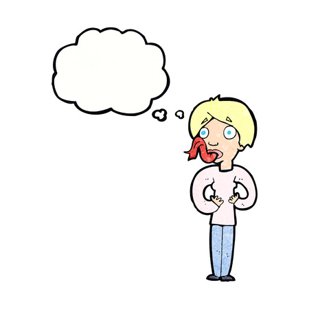 sticking out tongue: Historieta de la mujer fuera la lengua con la burbuja del pensamiento Vectores