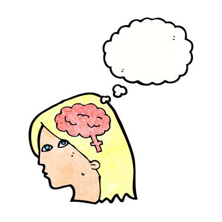 cabeza femenina: cabeza femenina de dibujos animados con el s�mbolo de cerebro con la burbuja del pensamiento