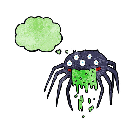 spook: cartoon gross halloween spider with thought bubble