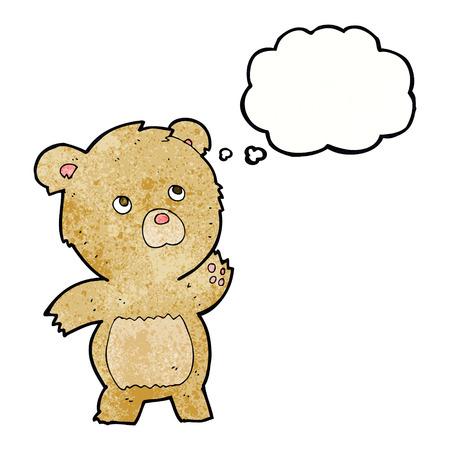 curious: cartoon curious teddy bear with thought bubble