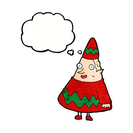 cartoon elfe: Cartoon Elf mit Gedankenblase Illustration