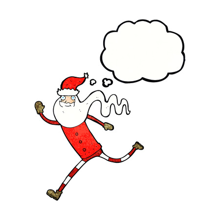 rushing: cartoon running santa with thought bubble