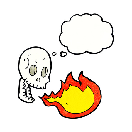 cartoon fire: cartoon fire breathing skull with thought bubble