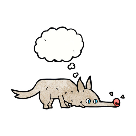 sniffing: cartoon dog sniffing floor with thought bubble Illustration