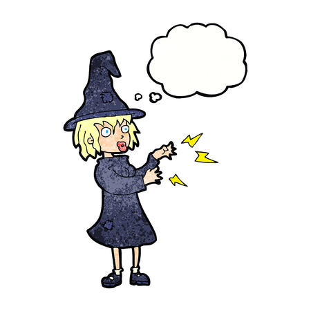 casting: cartoon witch casting spell with thought bubble