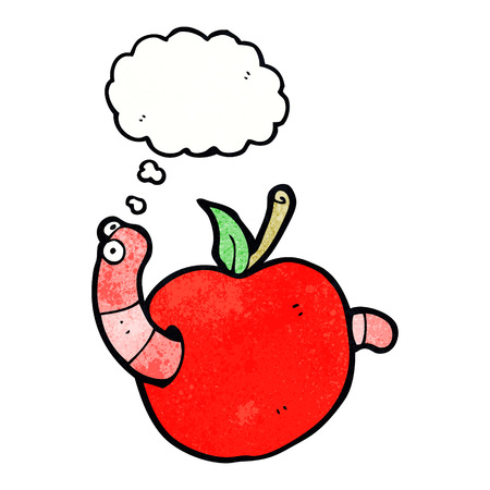 apple clipart: cartoon worm in apple with thought bubble
