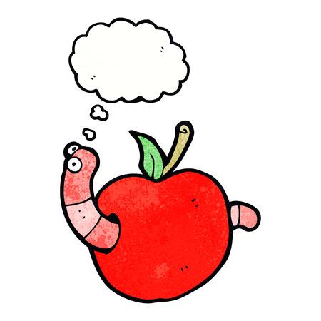 gusano caricatura: gusano de dibujos animados en la manzana con la burbuja del pensamiento