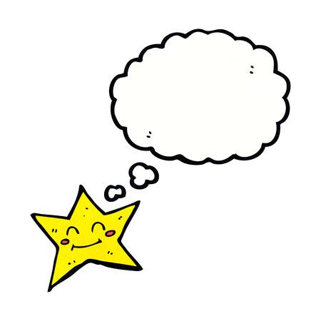estrella caricatura: personaje de dibujos animados estrella con burbuja de pensamiento