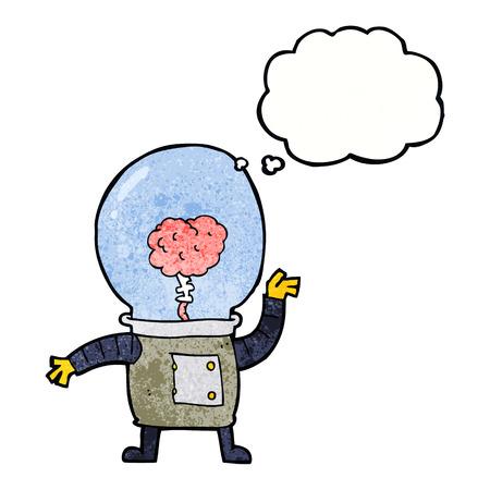 cyborg: dibujos animados cyborg robot con burbuja de pensamiento
