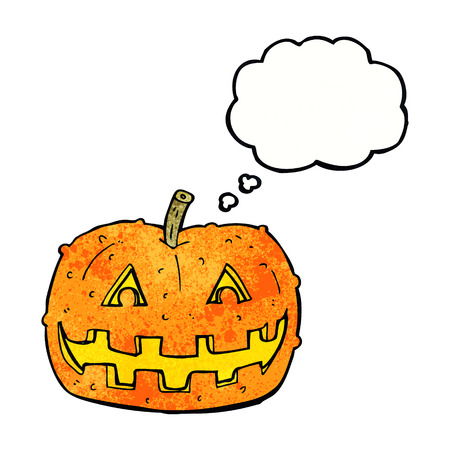 spook: cartoon pumpkin with thought bubble Illustration
