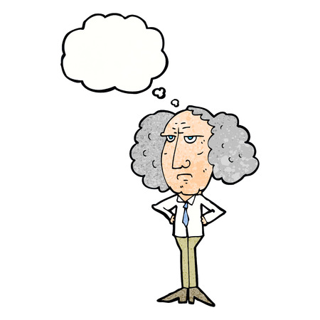 lecturer: cartoon big hair lecturer man with thought bubble
