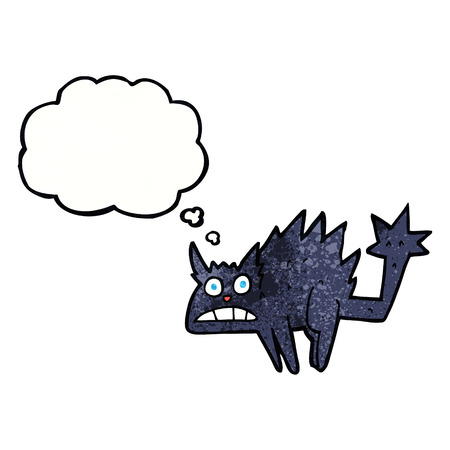 hissing: cartoon frightened black cat with thought bubble