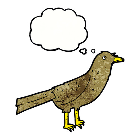 thought bubble: cartoon bird with thought bubble