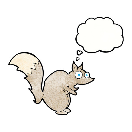 funny startled squirrel cartoon with thought bubble Illustration