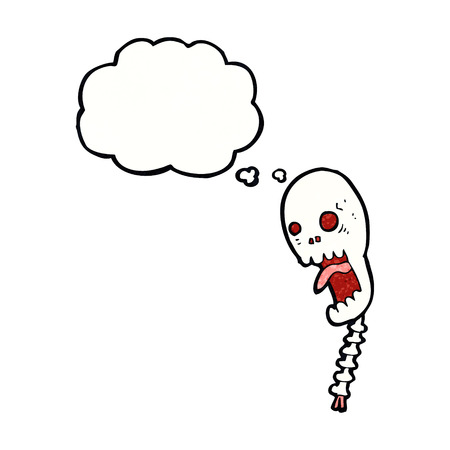shrieking: funny cartoon skull with thought bubble