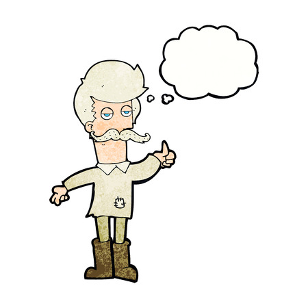 poor man: cartoon old man in poor clothes with thought bubble