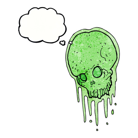 slimy: cartoon slimy skull with thought bubble Illustration