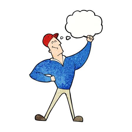 heroic: cartoon man striking heroic pose with thought bubble