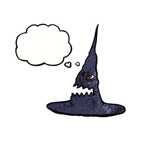 spook: cartoon spooky witches hat with thought bubble