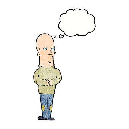 bald: cartoon funny bald man with thought bubble Illustration