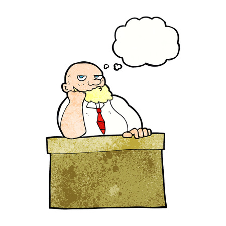 cartoon bored man at desk with thought bubble Illustration