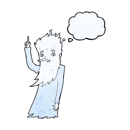 jack frost: gato de dibujos animados escarcha con burbuja de pensamiento