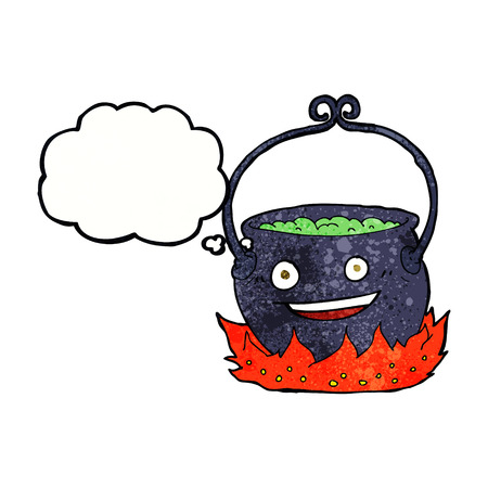 bubbling: cartoon witchs cauldron with thought bubble