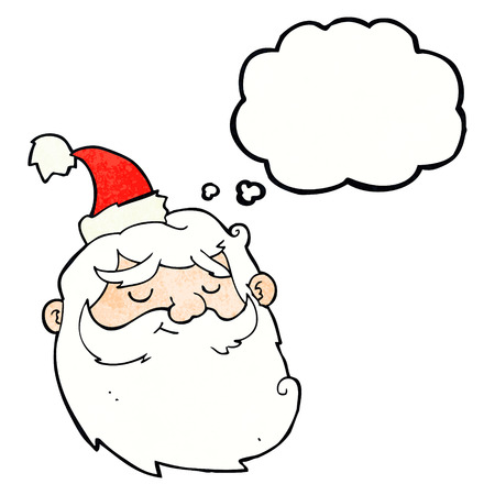 santa claus face: cartoon santa claus face with thought bubble
