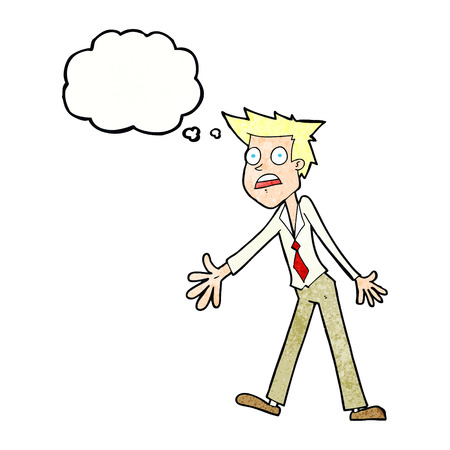 freaking out: cartoon stressed man with thought bubble Illustration