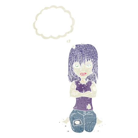 undead: cartoon vampire girl with thought bubble Illustration