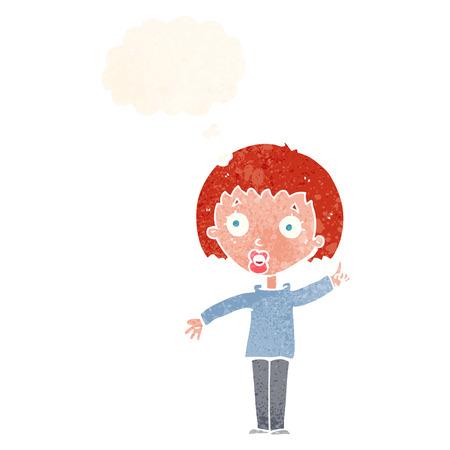 explaining: cartoon woman explaining her point with thought bubble Illustration