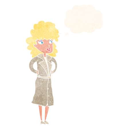 trench: cartoon woman in trench coat with thought bubble Illustration