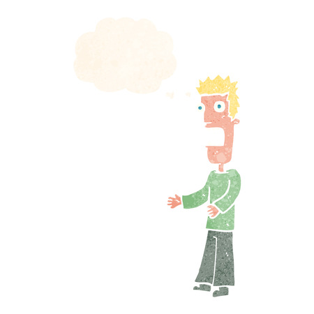 cartoon man freaking out with thought bubble