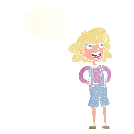 dungarees: cartoon woman in dungarees with thought bubble