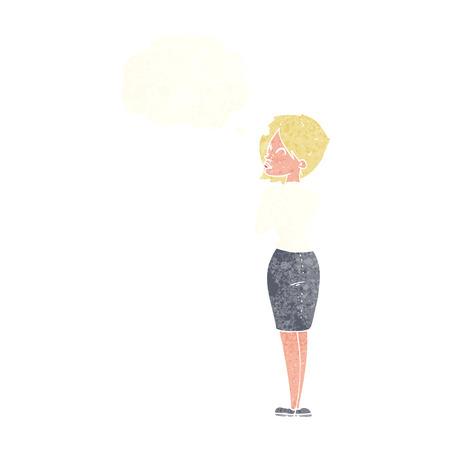 ignoring: cartoon businesswoman ignoring with thought bubble Illustration