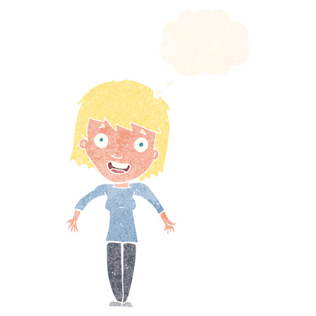 unconcerned: cartoon woman shrugging shoulders with thought bubble