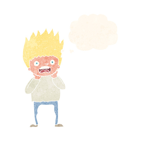 panicking: cartoon man panicking with thought bubble