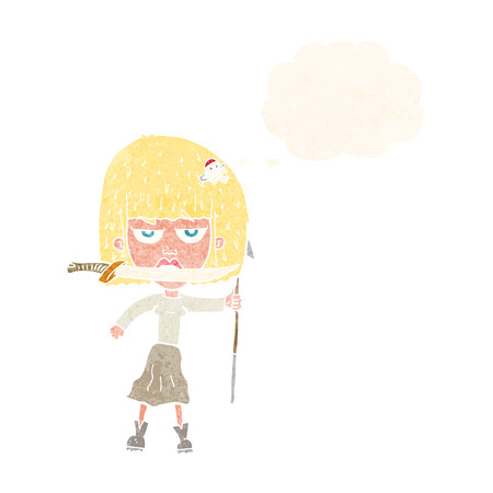 harpoon: cartoon woman with knife and harpoon with thought bubble Illustration