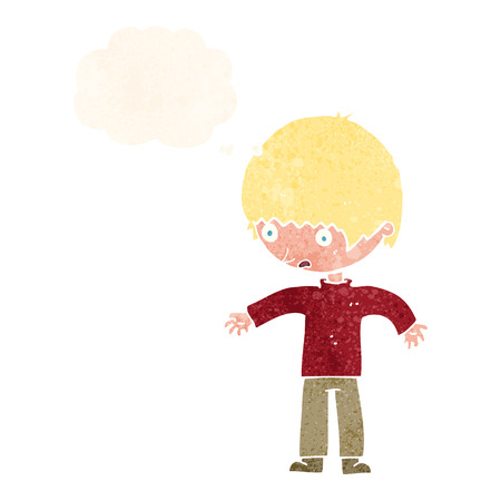 shocked man: cartoon confused boy with thought bubble