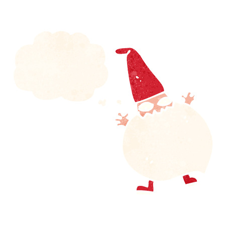 diminuto: de dibujos animados peque�a santa con burbuja de pensamiento